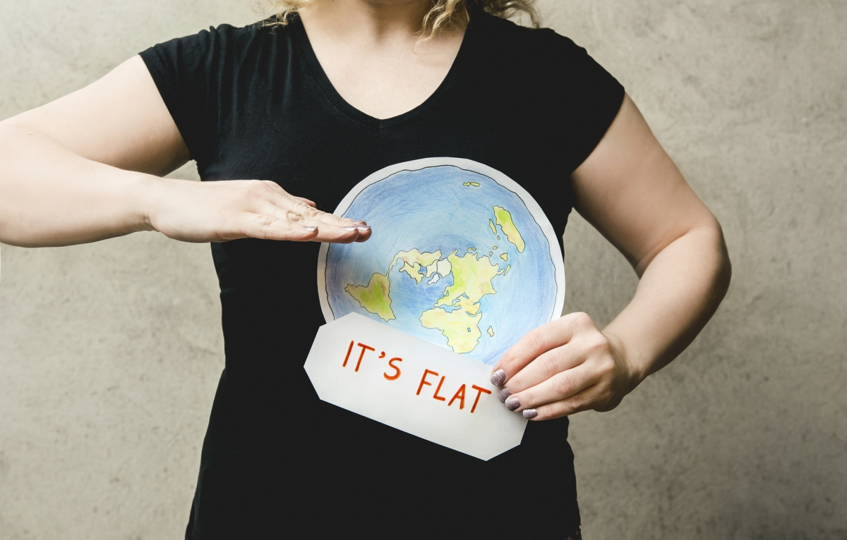 Woman with belief in a flat earth