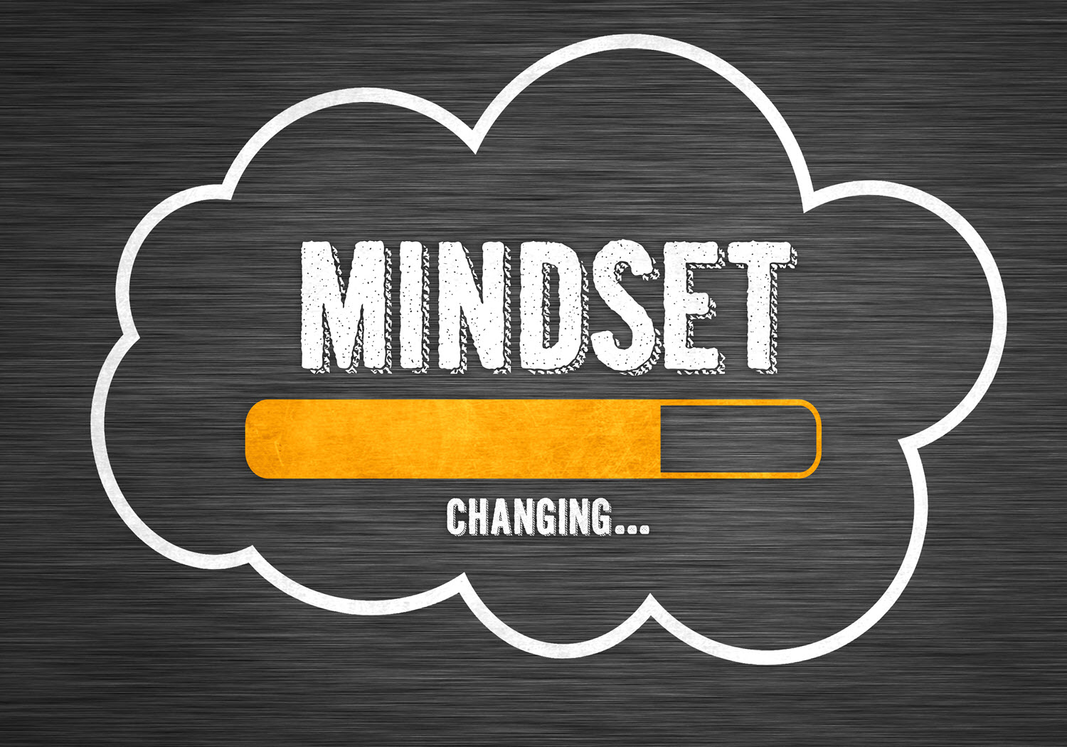 """A cloud with """"mindset changing"""" written and a progress indicator"""